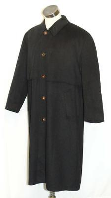 "WOOL and CASHMERE Long OVER COAT Winter SHORT SLEEVES Men BLACK ~ ITALY C51"" XL"