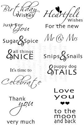 Inside Out Sentiments Words A6 Set Clear Stamps FREE P&P Sweet Dixie