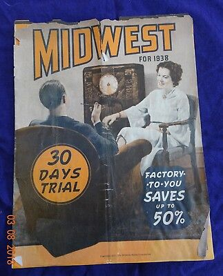 Rare 1938 MIDWEST RADIOS~Product Brochure~Catalog