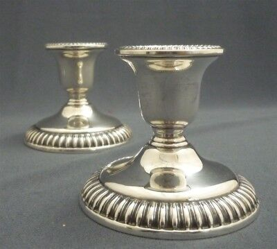 Set of 2 BIRKS Sterling Silver Weighted Low Candlesticks Candle Holders