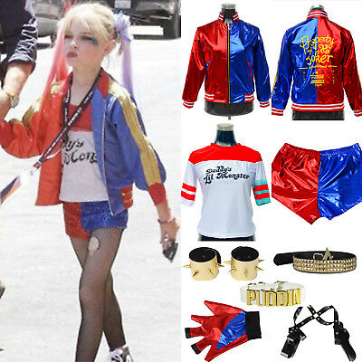 Kids Girls Suicide Squad Harley Quinn Tops Coat Shorts Halloween Cosplay Costume