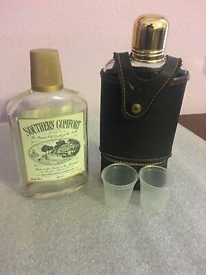 Vintage Glass Whiskey Bottles/Leather Flask Pouch & Shot Glass/Southern Comfort