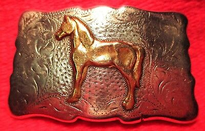 Quality SOLID STERLING SILVER FRONTIER ARABIAN HORSE Belt Buckle