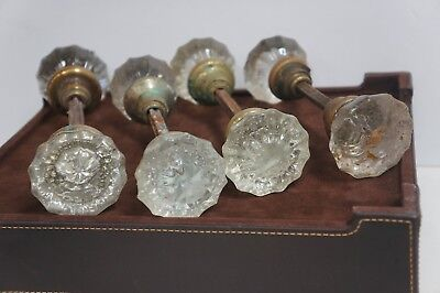 Antique Vintage 4 Sets Of Glass And  Brass Door Knobs