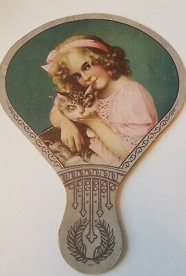 Vtg Advertising Hand Fan Beautiful Girl w Cat OVERLAND MECHANICSBURG CO. Boston