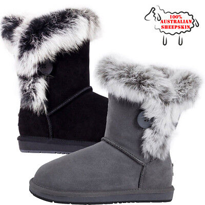 Ugg Boots Womens Australian Sheepskin Fur Classic Bailey Button Uggs Black Grey