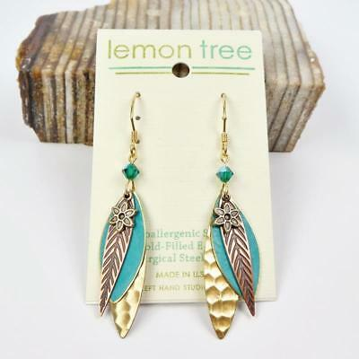 Three Part Brass and Hand Painted Turquoise Leaves Earrings by Lemon Tree