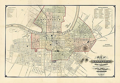1877 Wall Map Nashville and Vicinity Art Poster Decor Vintage History Geneology