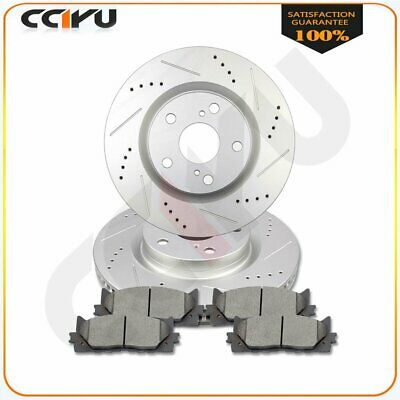 For Toyota Camry 2007 - 2017 Front Drill Slot Brake Rotors and Ceramic Pads