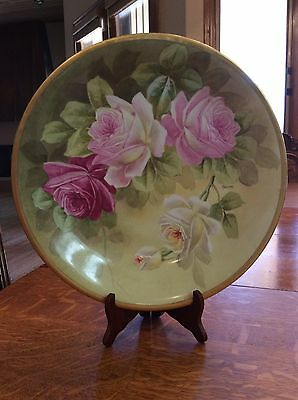 Limoge Hand Painted Roses Charger By Lanchay
