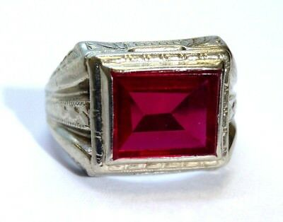 Antique Art Deco Highly Detaild 10K White Gold  Synth Red Ruby Ring Size 6.5 Men