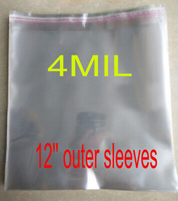 """50PCS Disc 4 MIL poly plastic 12"""" Vinyl Record Album Cover LP CD outer Sleeves"""