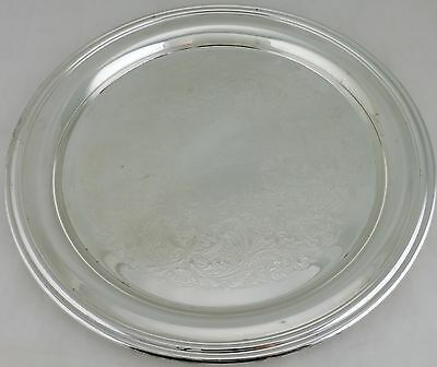 Vintage Silver Plated Serving Tray Classic Round Etched Webster/wilcox Oneida