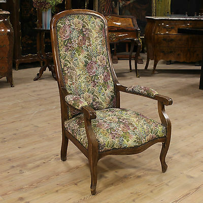 Armchair dutch carved rustic chair wooden furniture oak floral fabric antique XX
