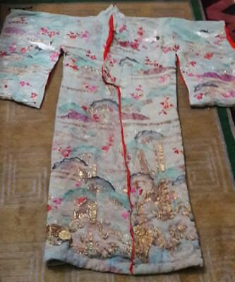 Rare Antique Chinese Embroidered Silk Opera  Robe  Qing Dinasty 19th