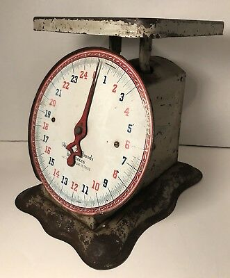 Vintage Shapleigh Hardware 25 lb Scale Kitchen Countertop Red Blue Patina Wear