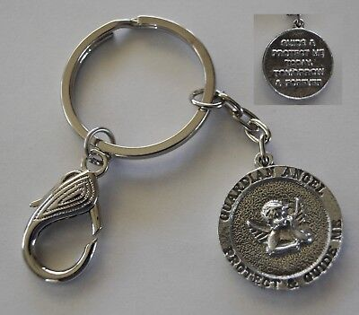 Keyring #104 Pewter GUARDIAN ANGEL PROTECTION MEDALLION (25mm) Keychain Chain