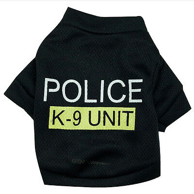 Pet Dog Cat Black Police T-Shirt Clothes Summer Vest Coat Puppy Costumes Outfits