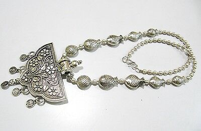 Antique Silver oxidized Long Necklace Ethnic Chain With Metal Pendant Necklace.