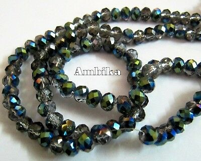 Green Coated Smoky Hydro Quartz 6mm Size Rondelle Faceted Beads, Mystic Coated.