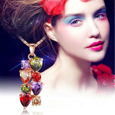New Women Gold Plated Necklace Pendant With Multi-Color AAA Zircon High Quality