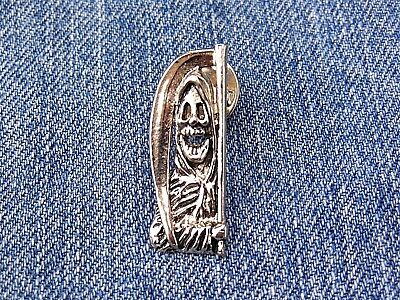 PIN Anstecker Sensenmann Skelett Spirit Skull Totenkopf Chrom Sammler Button USA