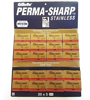 Perma Sharp Super Double Edge Razor Blades  Premium Perma-Sharp Safety DE 100pcs