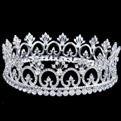 Crystal Queen Crown Wedding Prom Party Pageant Crown 15.7m Diameter 3 Colors