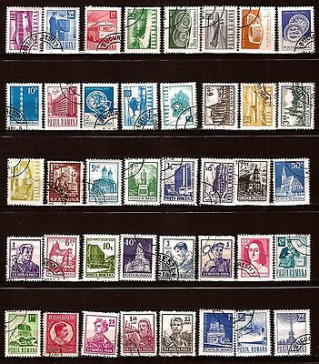 75T1 ROMANIA 40 stamps obliterated practices current , figures various