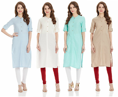 Elegant Straight Fit Women's Rayon Kurti Casual Wear Girls Collared Long Tunic