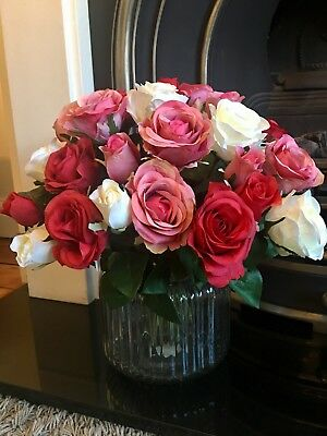 Luxurious Large Rose Bouquet Of Artificial Flowers In Jar Vase With Faux Water