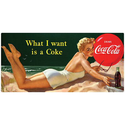 Coca-Cola Bathing Beauty What I Want Wall Decal Vintage Style Decor Coke