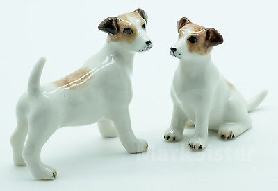 Figurine Animal Ceramic Statue 2 Jack Russell Terrier Dog - CDG016
