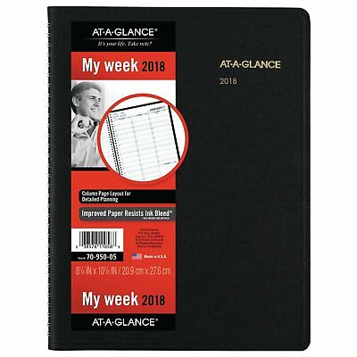 At-A-Glance 70-950-05 Weekly Appointment Book, 8 1/4 X 10 7/8, Black, 2018-2019