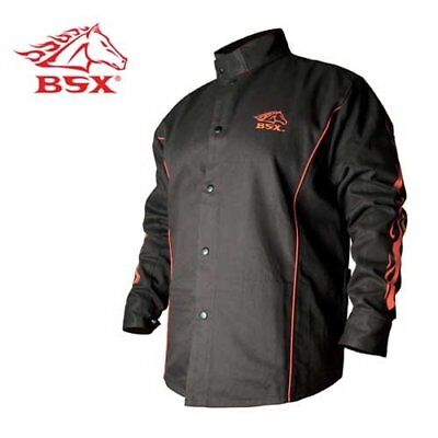 BSX Flame-Resistant Welding Jacket - Black with Red Flames, Size Large
