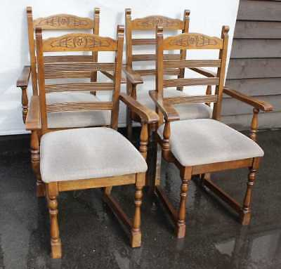1940's Set 4 Carved Ladder Back Beech Dining Carver Chairs