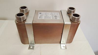 """Water to Water Brazed 100 Plate 11/4"""" MPT Ports w/INSTALLATION BRACKETS"""