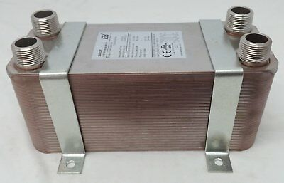 """Water to Water Brazed Plate 40 Plate 1"""" MPT Ports w/ NEW STYLE Bracket"""