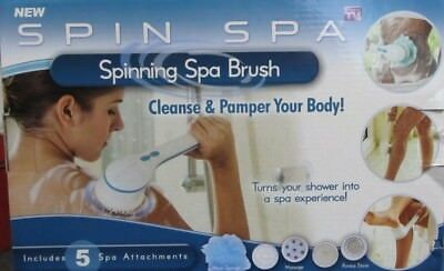 SPIN SPA SPINNING BRUSH Cleanse Pamper Long Handle 5 Attatchments As Seen on TV