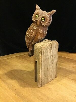 Hand Carved And Painted Signed Folk Art Wooden Owl