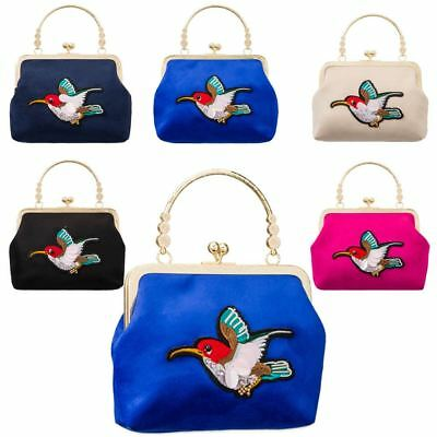 New Hummingbird Patch Detail Faux Suede Ladies Top Handle Evening Bag