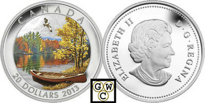 2013 'Autumn Bliss' Colorized Proof $20 Silver Coin 1oz .9999 Fine (13276) (NT)