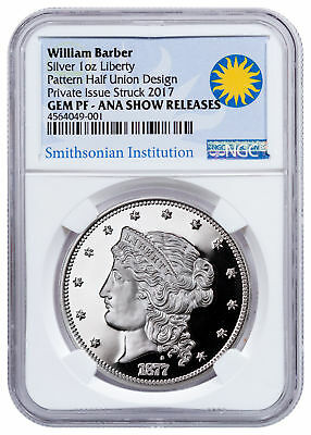 1877 Barber Half-Union Pattern 1 oz Silver Medal Denver ANA NGC GEM PF SKU48673
