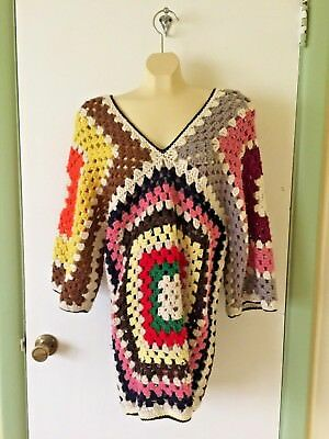 Upcycled handmade crochet granny square sweater dress S-M