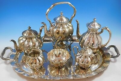S. de la Serna Mexican Mexico Sterling Silver Tea Set 6pc with Tray (#2233)