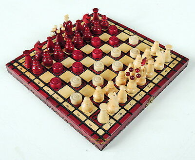 Brand New Kingdom Handcrafted Wooden Chess And Draughts Set 28Cm 11 Inch Red