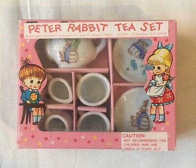 Vintage Peter Rabbit Toy China Tea Set No. 3758 from 60's-70's, Beatrix Potter