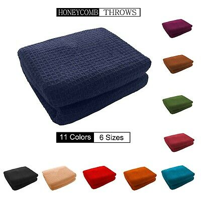 Honeycomb Waffle 100 Cotton Sofa Throws Bed In 11 Colors