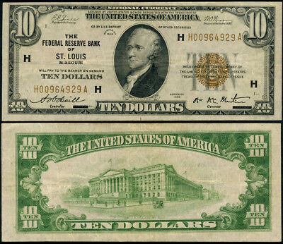 FR. 1860 H $10 1929 Federal Reserve Bank Note St. Louis VF Nice Color