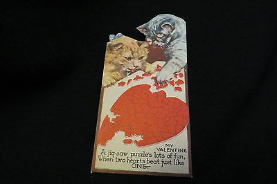 Vintage PUZZLE & Kitten Valentine card c. 1940s  made in CANADA